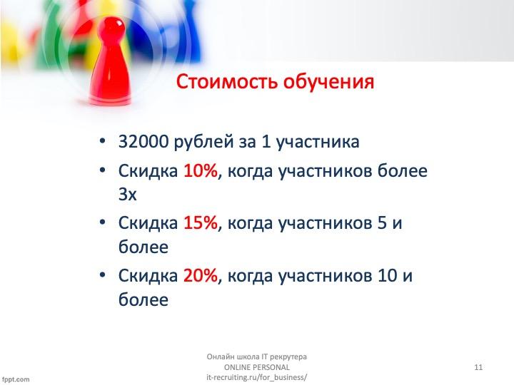 Корпоративный курс обучения ит рекрутменту стоимость11