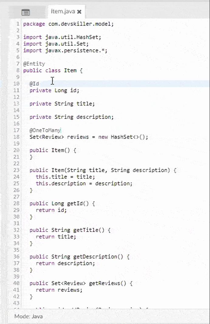 Пример кода написанного на языке Java