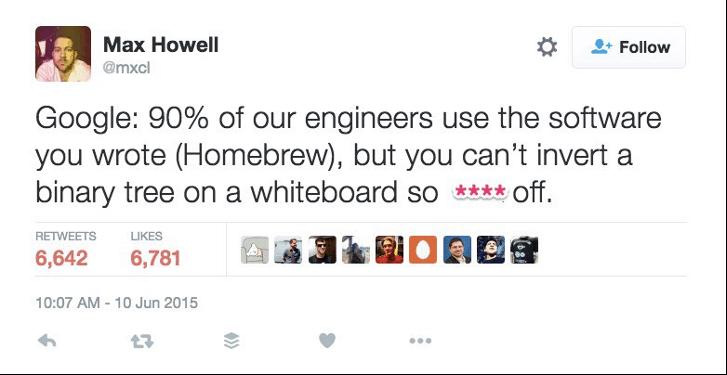 Твит пользователя Max Howell