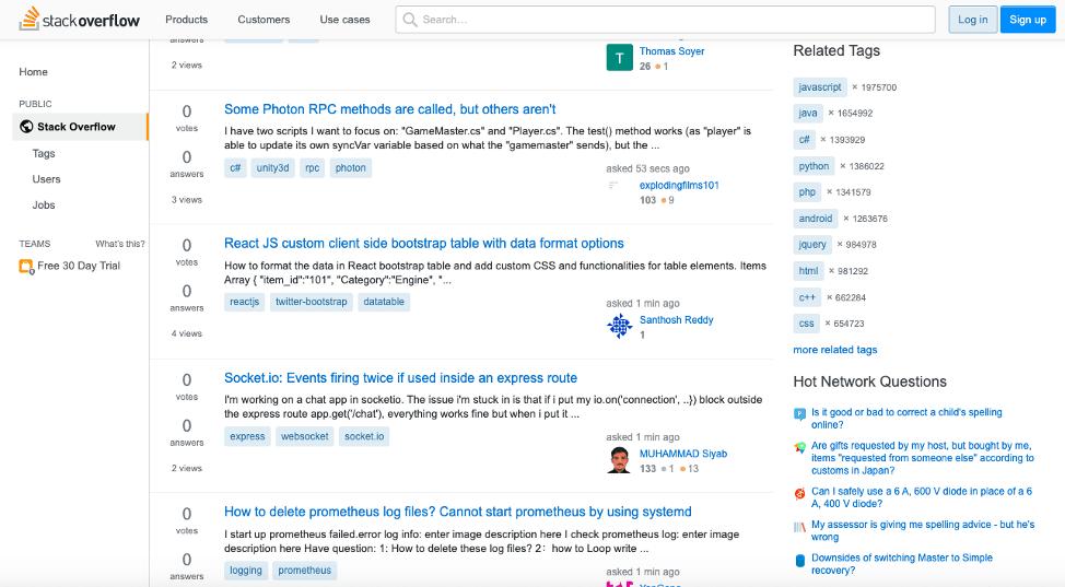 Функционал сервиса Stack Overflow